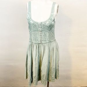 Dresses & Skirts - Boutique l Green Embroidered Button Front Dress